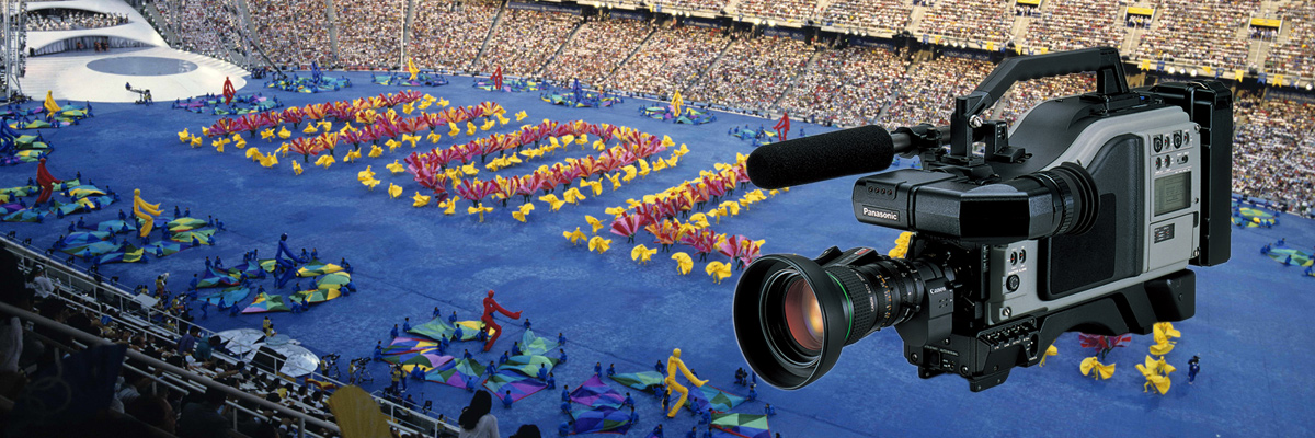 Photo: Video camera recorder and panoramic view of the stadium where the opening ceremony of the Olympic Games Barcelona 1992 was held