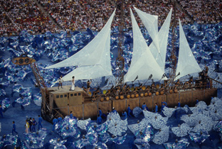 Photo: Large ship used as part of the performance during the opening ceremony of the Olympic Games Barcelona 1992
