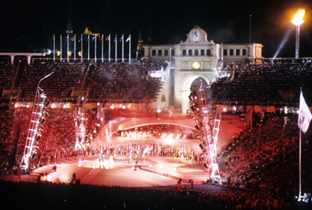 Photo: Olympic cauldron lighting ceremony at the opening ceremony of the Olympic Games Barcelona 1992
