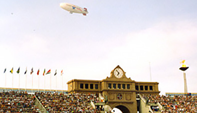 Photo: Panoramic view of the clock tower and Olympic cauldron at the Montjuic Olympic Stadium where the opening ceremony of the Olympic Games Barcelona 1992 was held