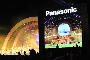 Photo: The opening ceremony and Panasonic logo being shown on an ASTROVISION large display unit installed at a venue of the Olympic Games Beijing 2008
