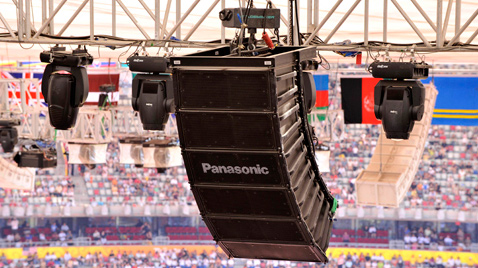 Photo: Vertically installed RAMSA speakers suspended from the ceiling of a venue of the Olympic Games Beijing 2008