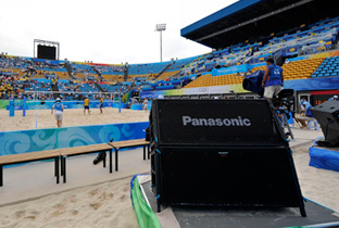 Photo: RAMSA speakers installed on the ground of the beach volleyball venue of the Olympic Games Beijing 2008