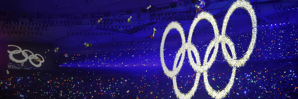 Photo: Panoramic view of the Olympic rings created with LEDs at the opening ceremony of the Olympic Games Beijing 2008