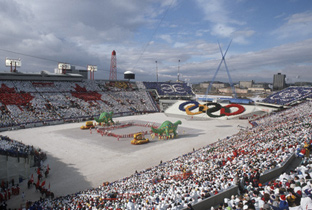 Photo: Panoramic view of the opening ceremony venue of the Olympic Winter Games Calgary 1988