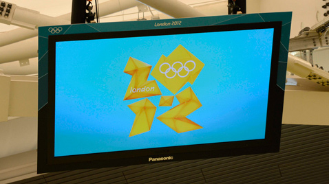 Photo: The Olympic Games London 2012 emblem being shown on a plasma display suspended from the ceiling of the swimming venue of the Olympic Games London 2012