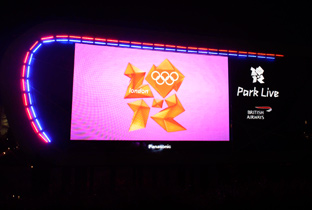 Photo: The Olympic Games London 2012 emblem being shown on a plasma display installed in the stands at the main stadium of the Olympic Games London 2012