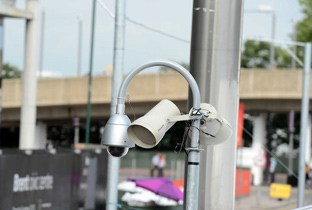 Photo: Outdoor security camera with housing installed near a venue of the Olympic Games London 2012