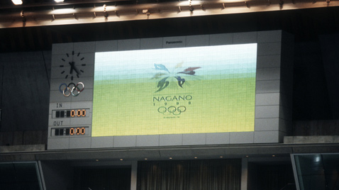 Photo: The Olympic Winter Games Nagano 1998 emblem being shown on an ASTROVISION large display unit installed at a venue of the Olympic Winter Games Nagano 1998