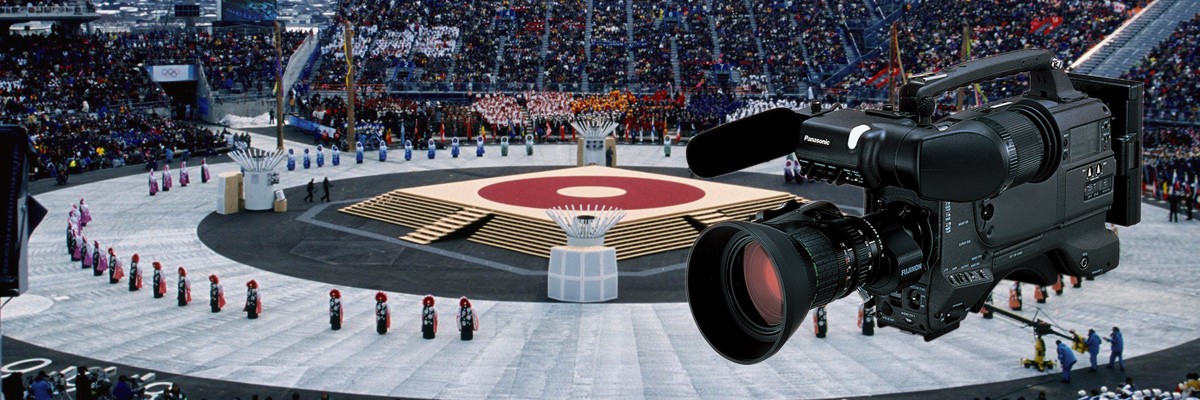 Photo: Camera recorder and panoramic view of the opening ceremony venue of the Olympic Winter Games Nagano 1998