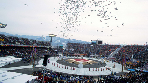 Photo: Panoramic view of the opening ceremony of the Olympic Winter Games Nagano 1998