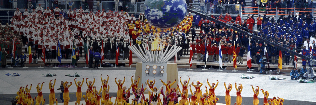 Photo: Globe used as part of the performance at the center of the stadium during the opening ceremony of the Olympic Winter Games Nagano 1998