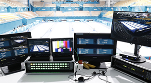 Photo of an HD camera recorder installed at an outdoor venue at the PyeongChang 2018 Winter Games