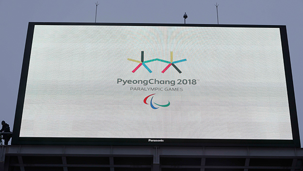 Photo of logo displayed on large video display equipment installed at a PyeongChang 2018 Paralympic Winter Games venue