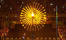 Photo of the torch lighting at the opening ceremony of the Rio Olympics