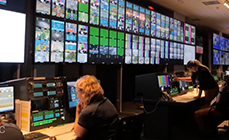 Photo of multiple monitors being used for video editing at the International Broadcast Centre (IBC)