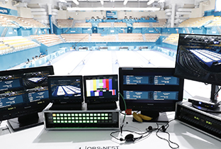 Photo of professional video systems including broadcasting equipment and several monitors installed at the PyeongChang 2018 Winter Games curling venue