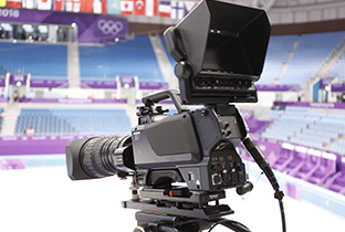 Photo of an HD camera recorder installed at an indoor venue at the PyeongChang 2018 Winter Games