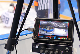 Photo of a monitor showing video shot with a 360-degree live camera