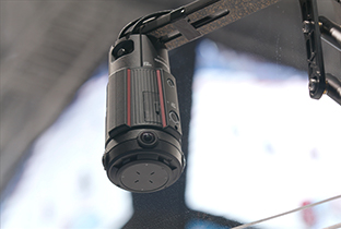 Photo of a 360-degree live camera suspended from above using special equipment at a PyeongChang 2018 Paralympic Winter Games venue
