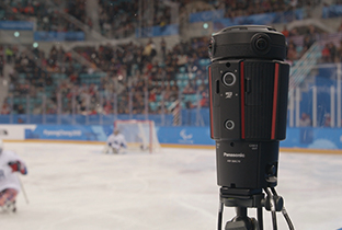 Photo of a 360-degree live camera installed at the PyeongChang 2018 Paralympic Winter Games ice hockey competition venue