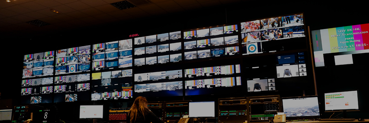 Photo of multiple system displays installed at the PyeongChang 2018 Winter Games International Broadcast Centre