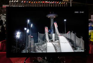 Photo of the ski jump ramps shown on a system display at a PyeongChang 2018 Winter Games venue