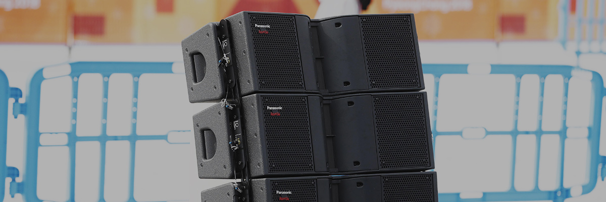Photo of multiple RAMSA line-array speakers installed together at the PyeongChang 2018 Winter Games ski competition venue