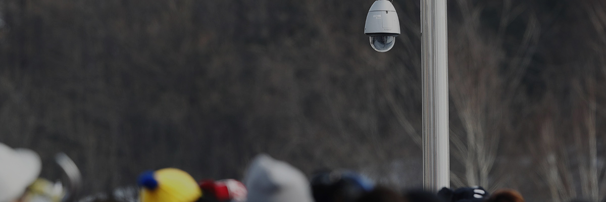Photo of a security camera with integrated outdoor housing installed on a post near a PyeongChang 2018 Winter Games venue