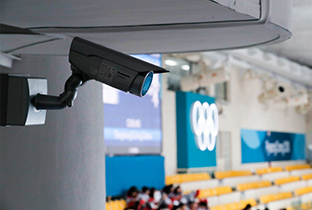 Photo of a security camera with integrated housing lens installed at a PyeongChang 2018 Winter Games venue