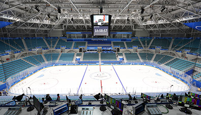 Photo of the PyeongChang 2018 Winter Games Ice Hockey venue where a large amount of Panasonic broadcasting equipment was installed