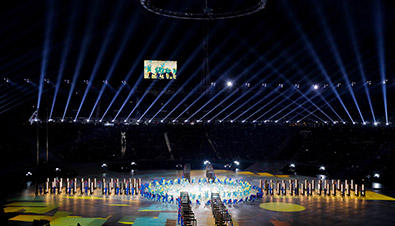 Photo of the PyeongChang 2018 Winter Games Opening Ceremony featuring high brightness laser projectors