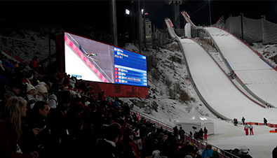 Photo: Competition footage displayed on the Large-Screen Display Systems installed at the Olympic Winter Games PyeongChang 2018 ski jump competition venue