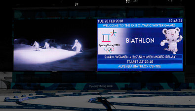 Photo: Scores, other information, and competition footage displayed on a combination board using the Large-Screen Display Systems at the Olympic Winter Games PyeongChang 2018 biathlon competition venue