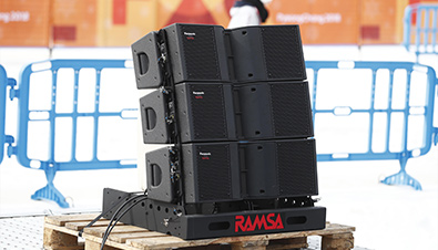 Photo of RAMSA line-array speakers installed at the PyeongChang 2018 Winter Games alpine skiing venue
