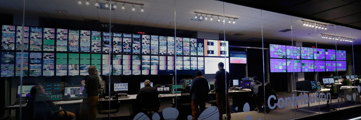 Photo: Multiple monitors and broadcasting equipment installed at the International Broadcast Center (IBC) for the Olympic Games Rio 2016