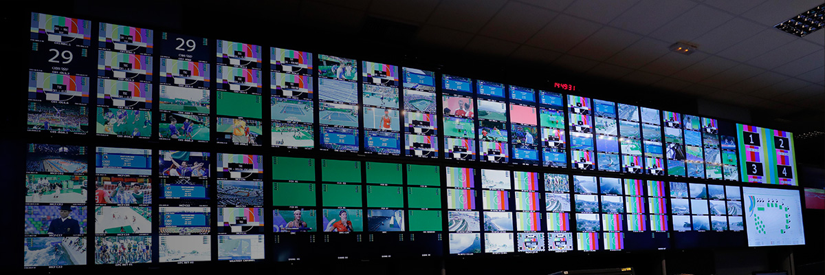 Photo: Large and small displays installed at the International Broadcast Center (IBC) for the Olympic Games Rio 2016