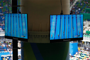 Photo: Displays installed on a column at a swimming venue of the Olympic Games Rio 2016