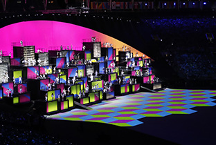 Photo: Colorful images being projected using DLP projectors at the opening ceremony venue of the Olympic Games Rio 2016