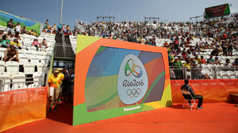 Photo: The Olympic Games Rio 2016 emblem being shown on a large display unit installed at the tennis venue of the Olympic Games Rio 2016