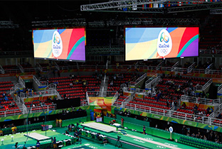 Photo: Olympic Games Rio 2016 emblem being shown on large display units installed in the center of the ceiling at the gymnastics venue of the Olympic Games Rio 2016