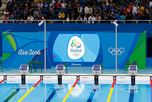 Photo: The Olympic Games Rio 2016 emblem being shown on a large display unit installed at a swimming venue of the Olympic Games Rio 2016