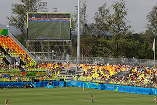Photo: Match being shown on a large display unit installed at a football venue of the Olympic Games Rio 2016