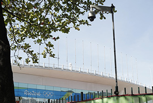 Photo: Outdoor security camera with housing installed on a post near a venue of the Olympic Games Rio 2016