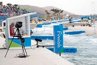Photo: Shooting equipment installed at a canoeing venue of the Olympic Games Rio 2016