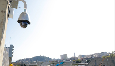 Photo: Outdoor security camera with housing installed at an outdoor venue of the Olympic Games Rio 2016