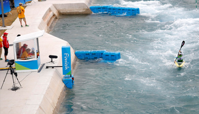 Photo: Video camera installed at one of the canoeing venues of the Olympic Games Rio 2016 as part of the video adjudication system