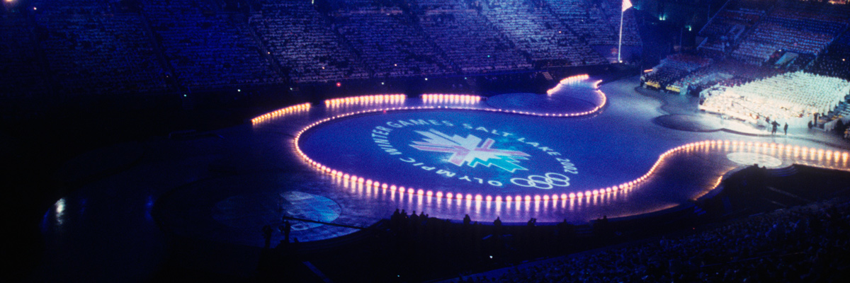 Photo: Panoramic view of the Olympic Winter Games Salt Lake 2002 emblem being displayed on the stadium's ground at the opening ceremony of the Olympic Winter Games Salt Lake 2002