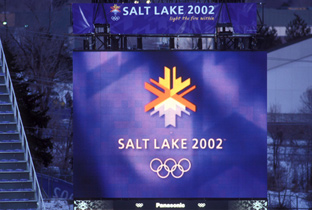 Photo: Olympic Winter Games Salt Lake 2002 emblem being shown on an ASTROVISION large display unit installed at a venue of the Olympic Winter Games Salt Lake 2002