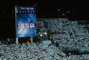 Photo: ASTROVISION large display unit installed in the stands at a venue of the Olympic Winter Games Salt Lake 2002